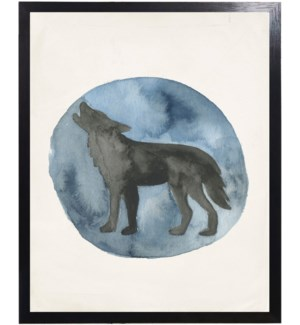 Lake Collection Black wolf on blue