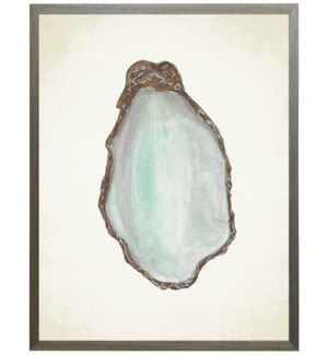 Watercolor oyster shell on natural background