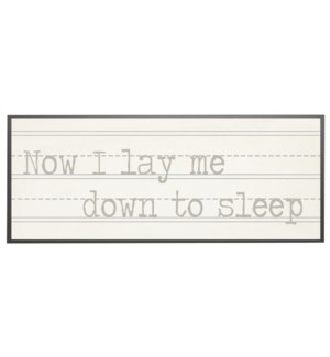 Now I lay me down to sleep in grey print
