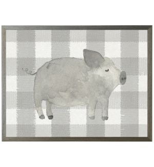 Black and white watercolor pig on buffalo stripes