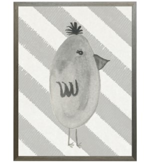 Black and white watercolor chick on diagonal stripes