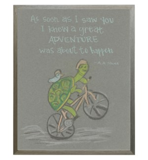 Turtle and bird friends with quote in pastels