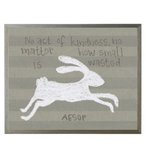 White pastel bunny with Aesop quote