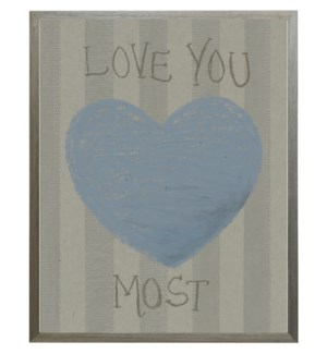 Love you most blue heart in pastels