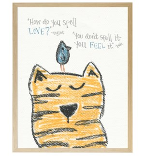Cat and bird with friendship quote in pastels