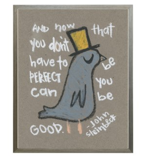 King bird with Steinbeck quote in pastels