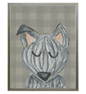Grey pastel dog on buffalo checks