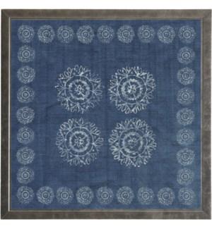 Block print on indigo linen print