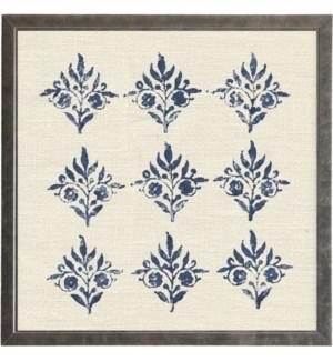 Block print on cream linen print