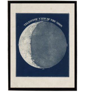 Telescopic view of the moon on navy