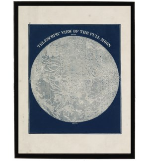 Telescopic view of the full moon on navy