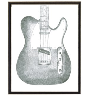 Black and white sketched guitar