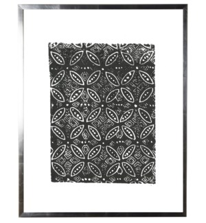 Black and white block print B