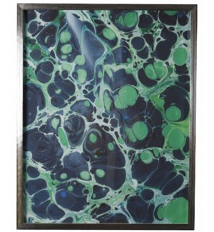 Navy and Green B Marbled art