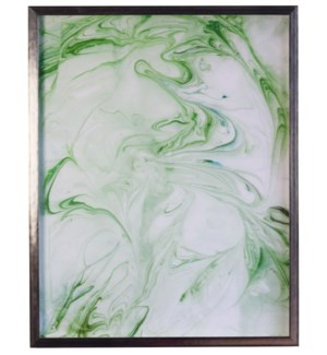 Green and White Marbled art