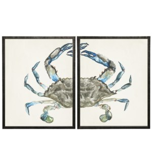 Watercolor diptych crab