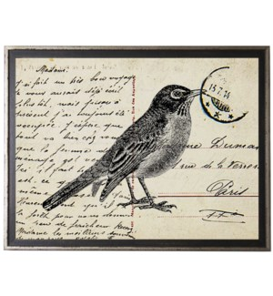 Bird Two on calligraphy postcard background