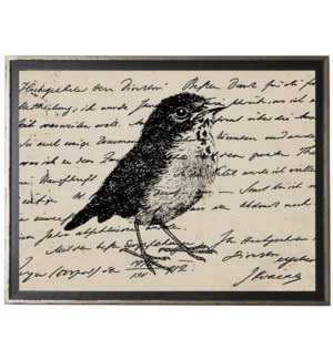 Bird Three on calligraphy postcard background