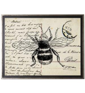 Bumblebee on calligraphy postcard background