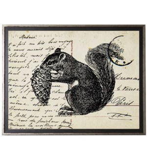 Squirrel on calligraphy postcard background