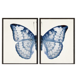 Diptych Light Blue and White Butterfly Left