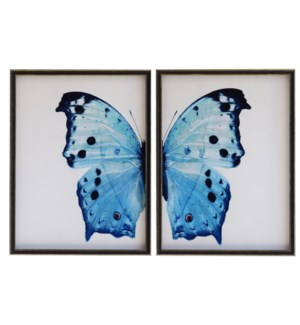 Diptych Pale Blue Butterfly with Navy spots (left)