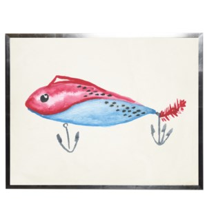 Blue and red fish lure