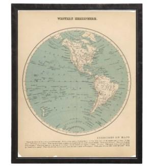 Western Hemisphere Print Pewter Shadowbox