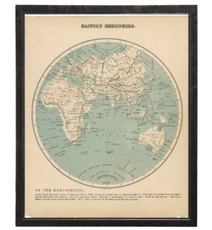 Eastern Hemisphere Print Pewter Shadowbox