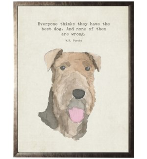 Watercolor brownTerrier dog with animal quote