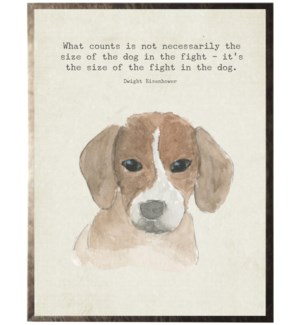 Watercolor brown Beagle dog with animal quote