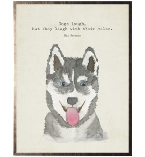 Watercolor grey Huskey dog with animal quote