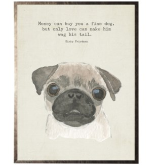 Watercolor brown Pug dog with animal quote