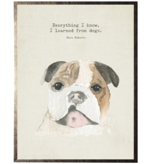 Watercolor brown Bulldog with animal quote