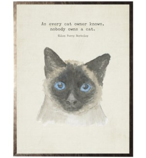 Watercolor Siamese cat with animal quote