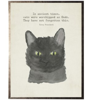Watercolor black cat with animal quote