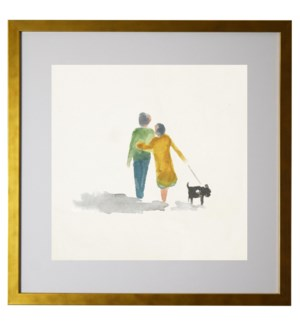 Watercolor couple walking a dog, matted