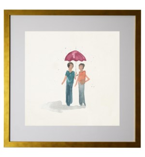 Watercolor couple holding an umbrella, matted