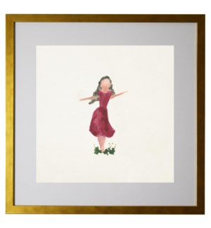 Watercolor girl with long hair and red dress, matted
