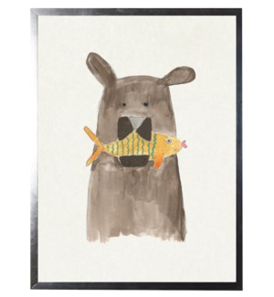 Watercolor bear with fish