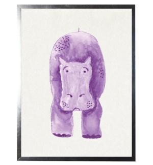 Watercolor Purple Hippo