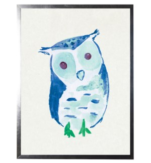 Watercolor Blue Owl
