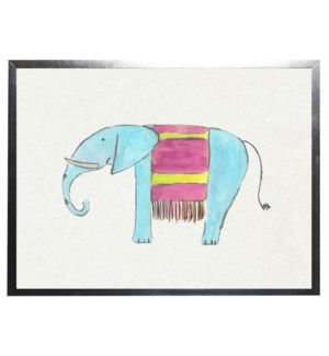 Watercolor Turquoise and Pink Elephant