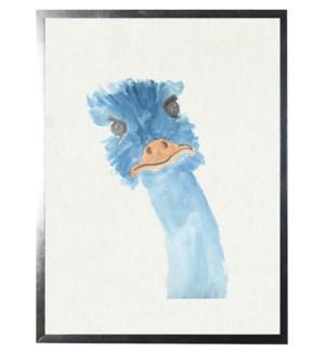Watercolor Blue Emu