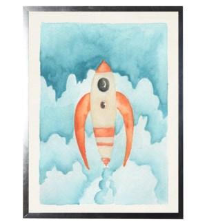 Watercolor orange rocket