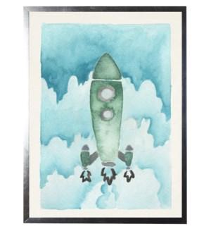 Watercolor green rocket