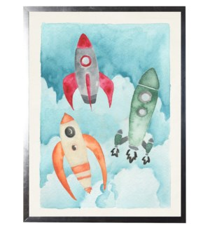 Watercolor three rockets