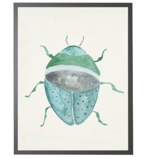 Watercolor grey/blue/green beetle