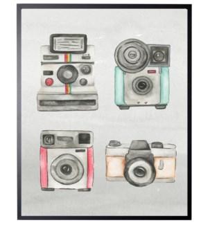 Four watercolor cameras