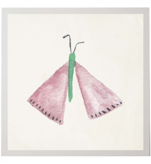 Watercolor pink and green moth